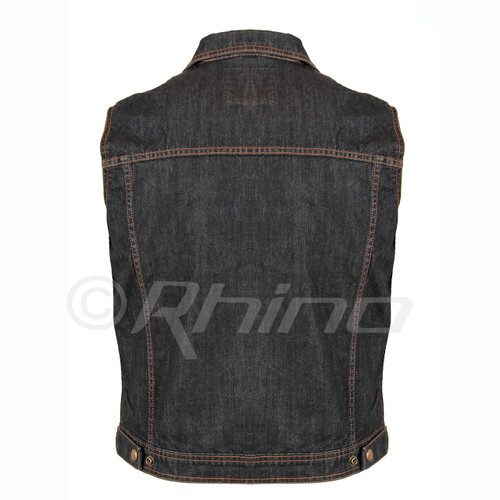Blue Denim Motorcycle Vest - back view