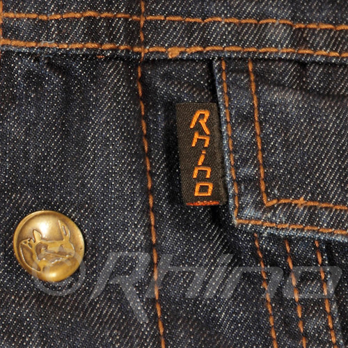 Blue Denim Motorcycle Vest - Rhino tag