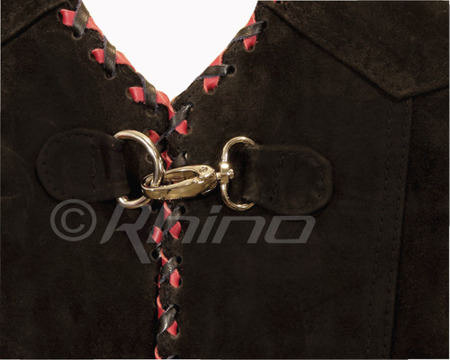Suede Vest with Metal Clasps and Black and Red Braiding - metal lock