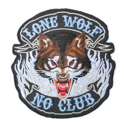 Lone Wolf No Club Full Face Motorcycle Patch