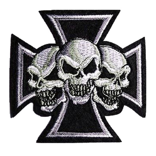 Cross with 3 Skulls Embroidered Motorcycle Patch