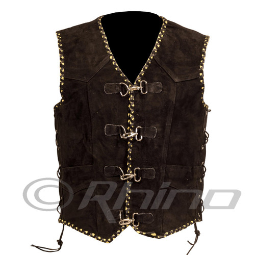Suede Vest with Metal Clasps and Black and Yellow Braiding - front view
