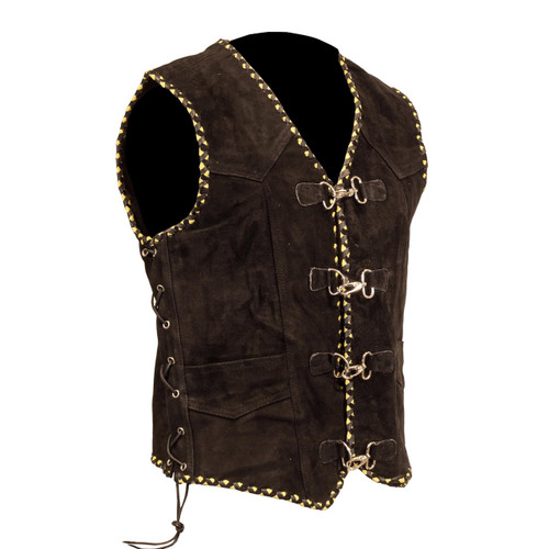 Suede Vest with Metal Clasps and Black and Yellow Braiding