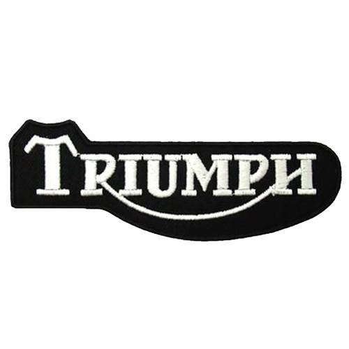 Triumph Black and White Script Embroidered Patch