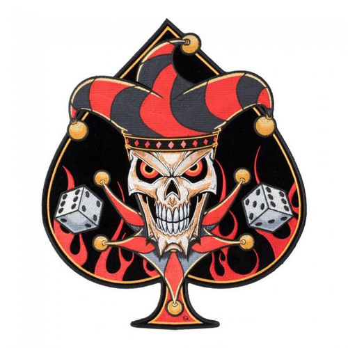 Lucky Jester Blazing Spade With Dice Patch Embroidered Patch