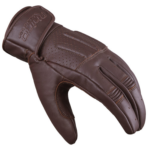 Bandit Brown Perforated Short Wrist Leather Motorcycle Glove - Touchscreen