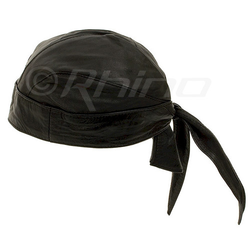 Leather Do-Rag Skull Cap - black