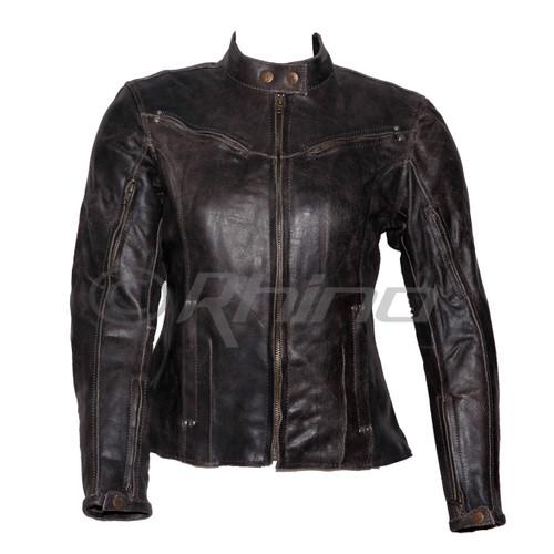 Women's Dark Brown Vintage Distressed Leather Motorcycle Jacket