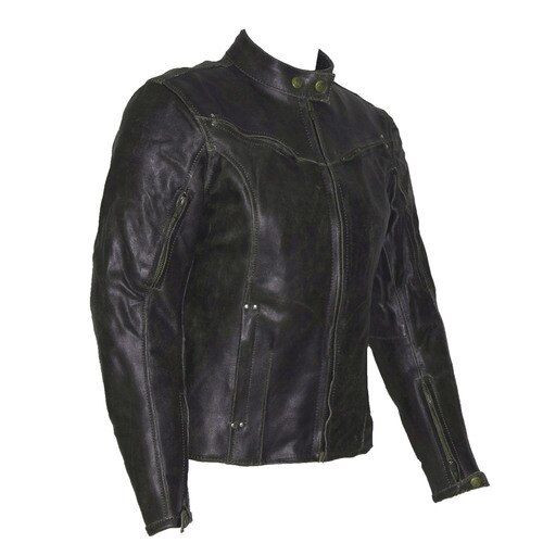Topaz Women's Dark Brown Vintage Distressed Leather Motorcycle Jacket