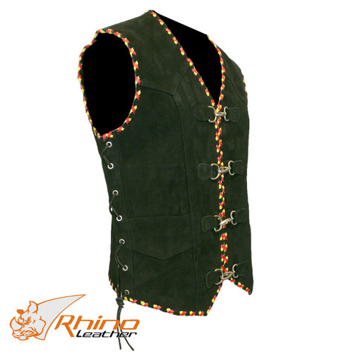 Suede Vest with Metal Clasps and Red and Yellow Braiding (SMALL, 6-8XL)