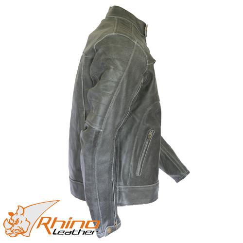 Bronson Black/Grey Distressed Vintage Leather Cafe Motorcycle Jacket