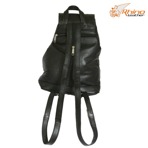 Medium Black Leather Backpack Handbag - Wilma
