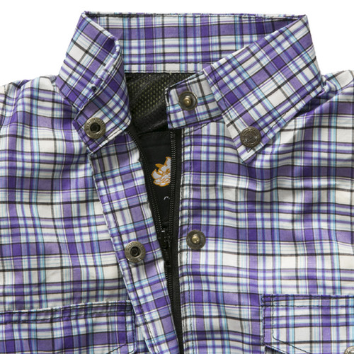 Chic Womens Shirt Fully Lined with protective aramid lining - Purple and white