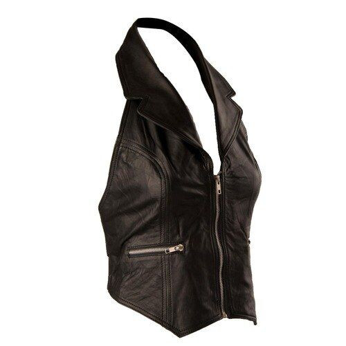 Ladies Black Lambskin Leather Halter Top - Collar & Zip Front