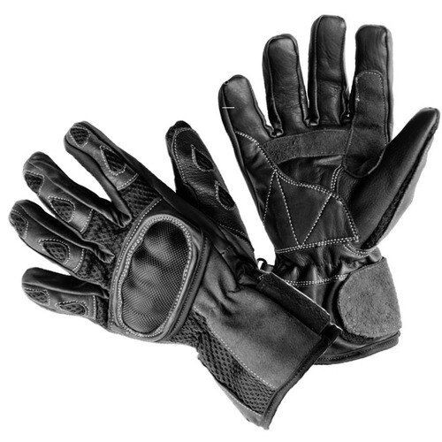 Black Mambo Leather and Airmesh Motorcycle Gloves with Carbon Knuckle Protection