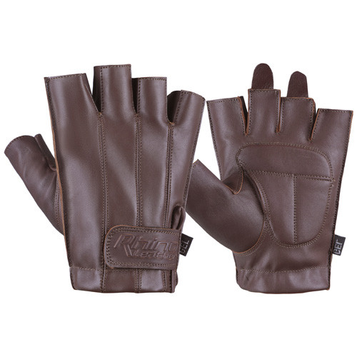 Brown Fingerless Motorcycle Gloves
