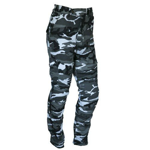 Mens Camouflage Cotton Motorcycle Cargo Pants  reinforced with protective aramid lining