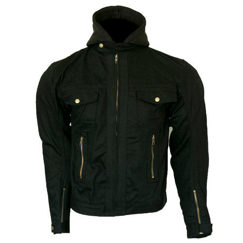 Merlin Black Denim Motorcycle Jacket with hoodie reinforced with protective aramid lining