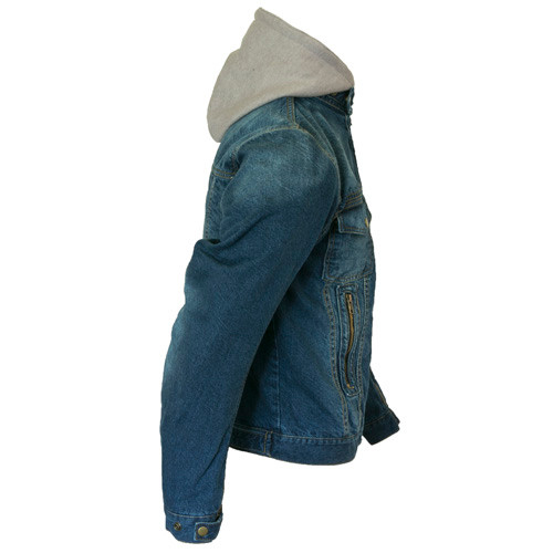 Blue Denim Motorcycle Jacket with hoodie