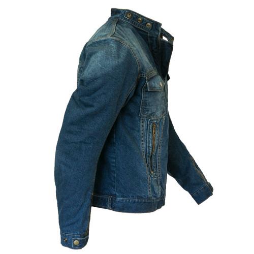 Blue Denim Motorcycle Jacket with hoodie