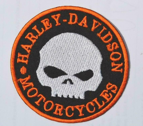 Round Harley Davidson Skull Embroidered Patch