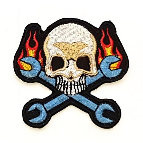 Motorcycle Rider Embroidered Patch Colourful Crossbones Skull