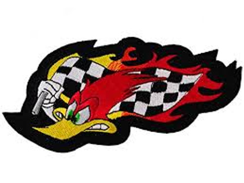 Motorcycle Rider Biker Embroidered Patch Flaming Roadrunner