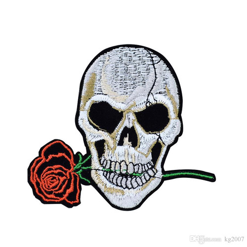 Motorcycle Riders Biker Embroidered Patch Skull & Rose