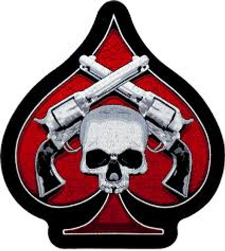 Motorcycle Rider Ace of Spades Skull n Guns Embroidered Patch