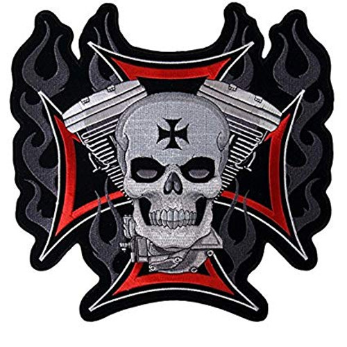 Motorcycle Rider Embroidered Patch Malta Cross Skull Flaming