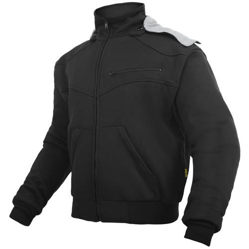 Black Hoody Motorcycle Jacket reinforced with protective aramid lining