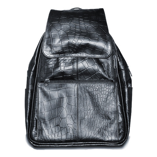 Womens Black Leather Backpack