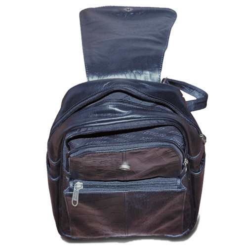 Balack Leather Backpack zip up