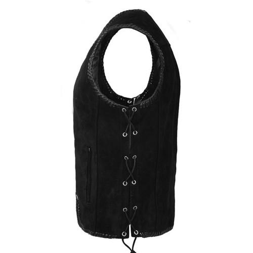 Black Suede Braid Vest