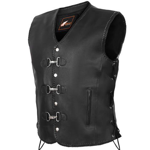 Leather Vest Hand Braided
