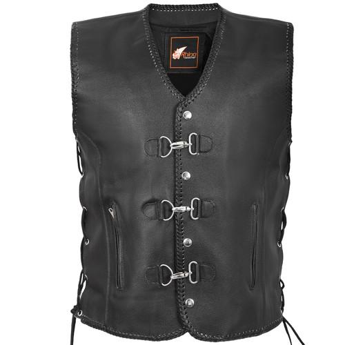 Black Leather Braid Vest