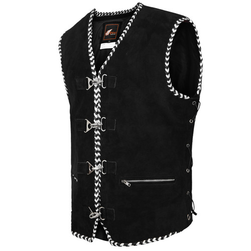 Leather Club Vest with Spanish Black and White Braiding