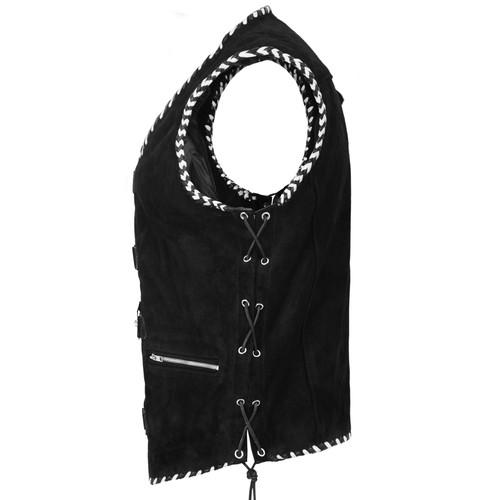 Leather Club Vest with Spanish Braiding