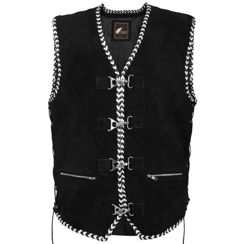 Black and white braid club vest