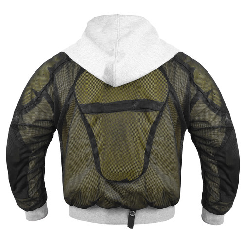 Grey Hoody Motorcycle Jacket reinforced with protective aramid lining
