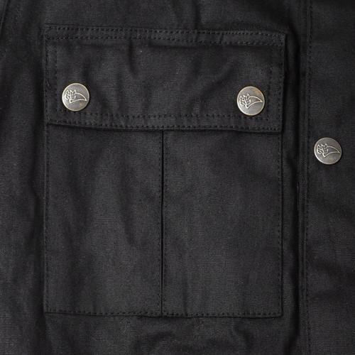 Strike  Waxed Cotton Black Motorcycle Jacket Sports Style