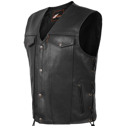 Outlaw Denim Style Motorcycle Biker Leather Waistcoat Vest with Side Lace