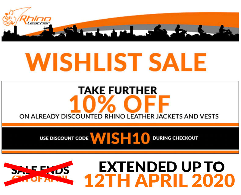 WISHLIST SALE - 10% OFF on Rhino Leather Jackets and Vests