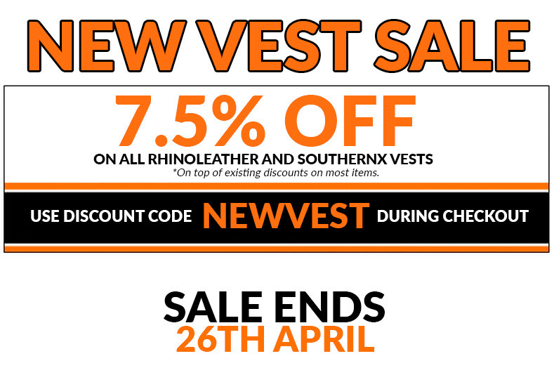 New Vest Sale - 7.5% Off on Rhinoleather and SouthernX Vests