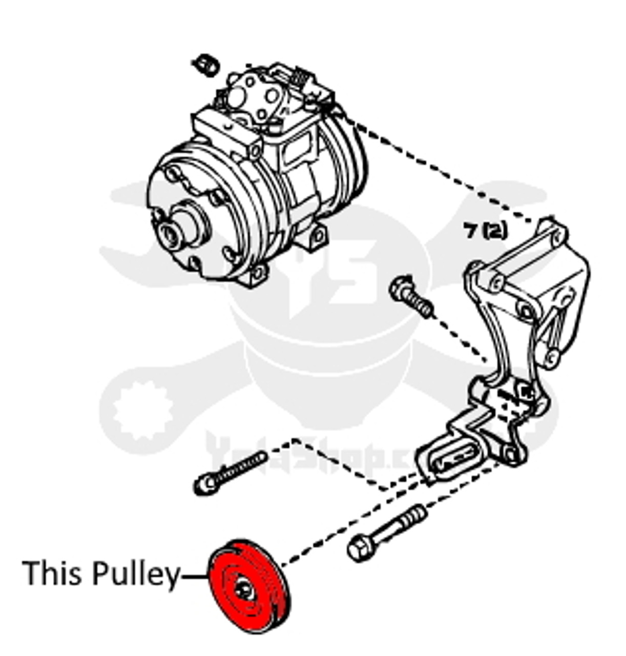 A/C Pulley - Toyota 4Runner & Pickup A/C Belt Tensioner Pulley (1988-1995) 88440-35030