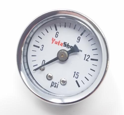"Pressure Gauge - Fuel Pressure Gauge for Carburetors (0 - 15 PSI) 1/8"" NPT Male Thread - XB40374"