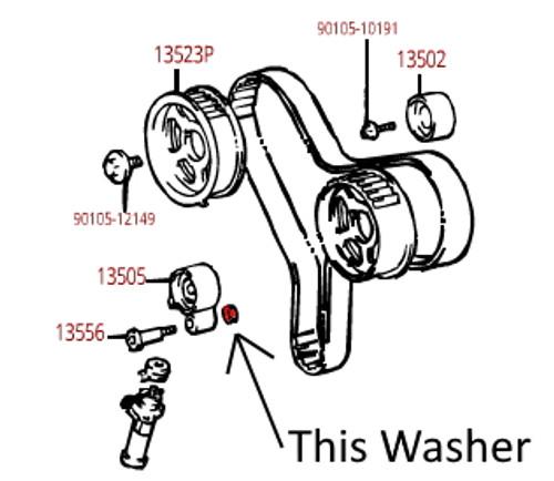 Pivot Washer- Toyota Timing Belt Tensioner Bearing Pivot Bolt Washer for 4runner, Avalon, Camry, Highlander, Sienna, Solara, T100, Tacoma & Tundra 90201-10098