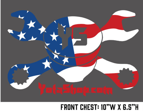 YotaShop Tee- Children's Gray Tee Shirt with US Flag YotaShop Piston Wrench Logo YST-USC
