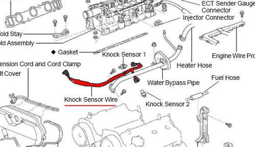 Sensor Wire- Toyota V6 3.4L 5VZ-FE 4Runner, T100, Tacoma & Tundra OEM Knock Sensor Wire (1995-2004) 82219-34010