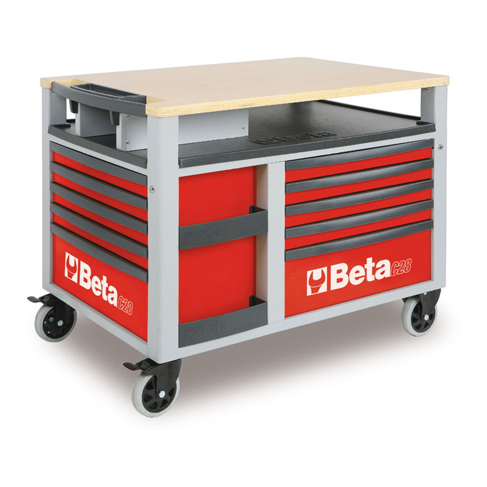 Beta Tools C28-R SuperTank Trolley with Worktop and Ten Drawers - Red